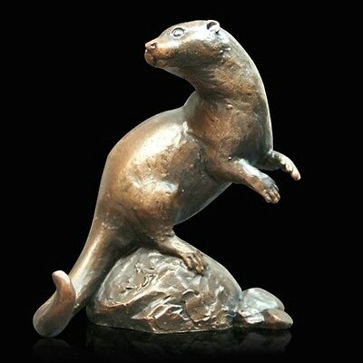 Otter Solid Bronze Foundry Cast Sculpture Richard Cooper Michael Simpson (916)