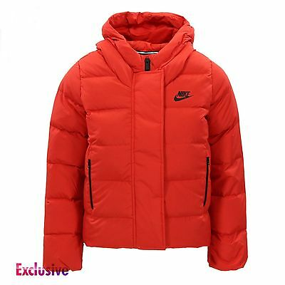 Nike Girls NSW 550 Fill Down Jacket Padded Coat - 816376-657 - Red - RRP £100