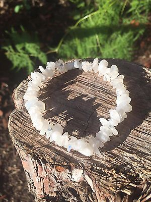 Natural Rainbow Moonstone Gemstone Crystal Bracelet Chip Bead Chakra Healing