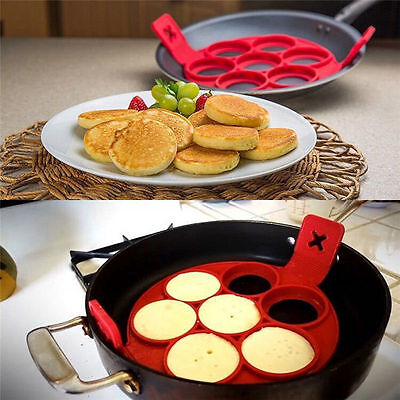 Pancake Mould Non Stick Silicone Breakfast Maker Egg Ring Omelette Flip Tool UK