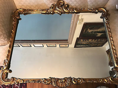 Large Antique Rococo Gold Tone Ornate Wall Mantle Mirror - 35 x 39 x 2 Inches