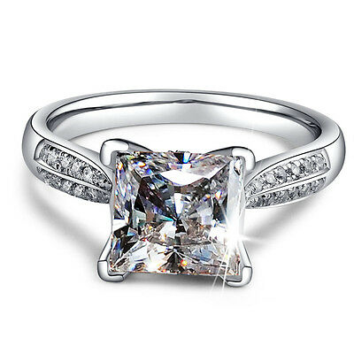 2ct Princess Cut AAA CZ 925 Silver Women's Engagement Wedding Band Ring Size 4-9