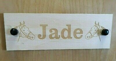 Personalised Engraved Horse Name Plaque Stable Door Wooden Plinth Tack