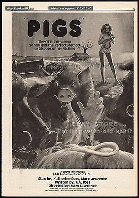 PIGS a.k.a. Daddy's Deadly Darling__Original 1982 Trade AD_poster__MARC LAWRENCE