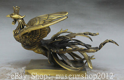 """12"""" Chinese Copper FengShui Animal Fly FengHuang Phoenix Auspicious Bird Statue"""