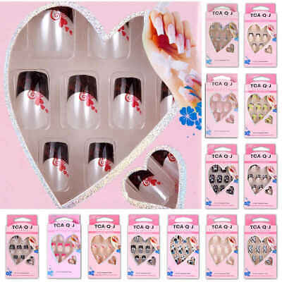 Acrylic Designer Nail Tips False French Full Cover Nails Art Decor