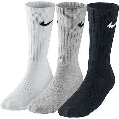 3 PACK NIKE Logo Sports Socks, Pairs Mens Womens Ladies  Unisex White Grey Black