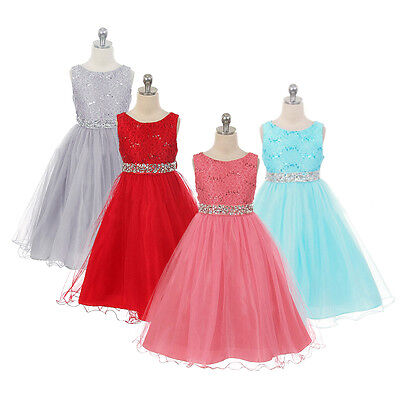 Flower Girl Princess Tulle Dress Party Wedding Communion Bridesmaid Formal Gown