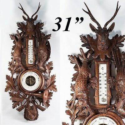 "Antique Black Forest Hand Carved Wood ""Fruits of the Hunt"" 31"" Barometer, Stag"