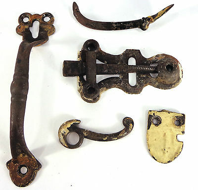 Antique Victorian cast Thumb Gate Latch SET hardware vtg barn door outhouse knob