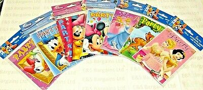 Disney Party Invites & Envelopes Micky Minnie Donald Duck Tinker Bell  & More