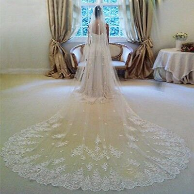 Bridal Wedding lace Veil Cathedral long 1Tier With Comb 3.5M ivory/white