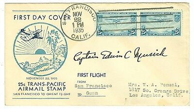 Capt. Musick Signed 1935 Panam Fam14 Flight Cover China Clipper San Francisco