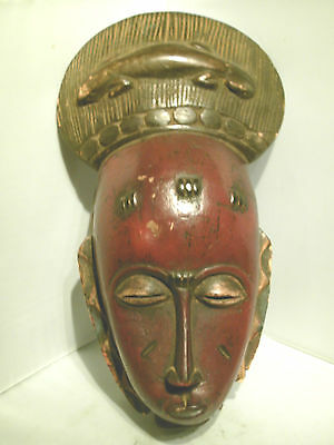 Rare Vintage Antique African Baule Tribal Red Mask