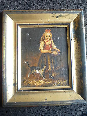 Original Girl & Dog Portrait Oil Painting on Canvas - Signed