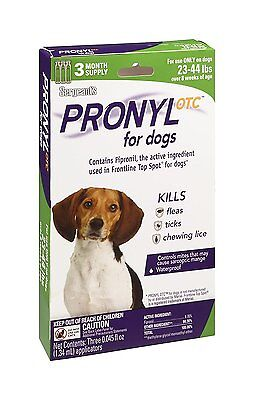 NEW Pronyl OTC 23 to 44 Pound Flea and Tick Remedy 3-Count 3 Month Supply