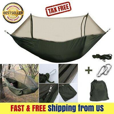 NEW Military Travel Parachute Hanging Hammock Camping Tent w POP UP Mosquito Net