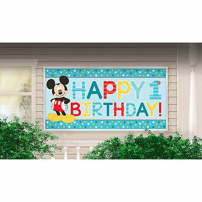 Mickey Mouse First/1st Happy Birthday Party Large Banner