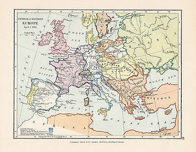 Map Of Central Europe Circa 1812 Original Printed 1910