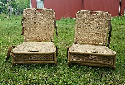Vintage Wicker Chairs, Canoe Seats, Pair of Antique Wicker chairs.