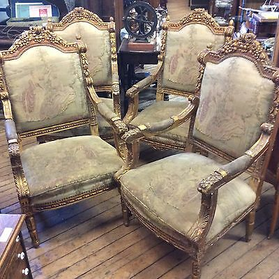 Set of Four Gilded French Armchairs w/Needlepoint Upholstery