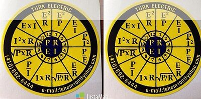 2X OHMS law sticker decal PEIR wheel for NEC CODE Book