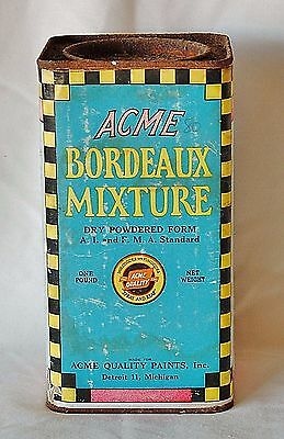Vintage ACME Bordeaux Mixture One Pound Container Cardboard with Metal Lid/Base