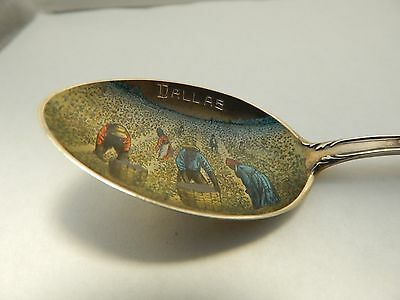 Black Americana Texas Cotton Picking Sterling Silver Enameled Souvenir Spoon
