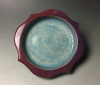 Rare Chinese porcelain Jun kiln red & blue glaze lotus flower brush wash #2
