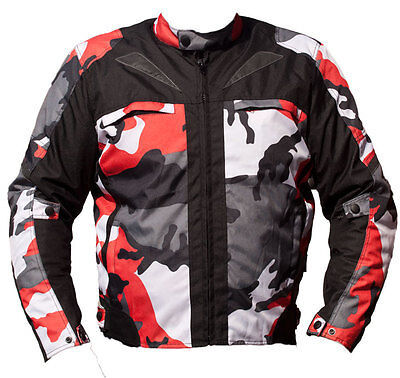Black Ash Mens Camo Motorcycle Cordura Textile Armor Jacket Red 2Xl