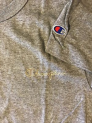 Vintage 90s Champion Youth Large Spell Out Script Logo Signature Shirt Gray Blue
