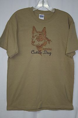 Australian Cattle Dog Embroidered On A 2XLarge Tan Color T-Shirt