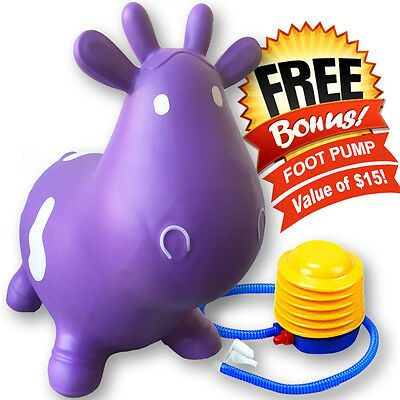 Kids Purple Cow Hopper Inflatable Jumping Horse Ride-on Bouncy Free Pump Include