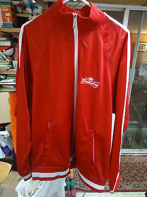 BUDWEISER BEER Red Retro Track Jacket Men's XL with Zippered Front & Pockets