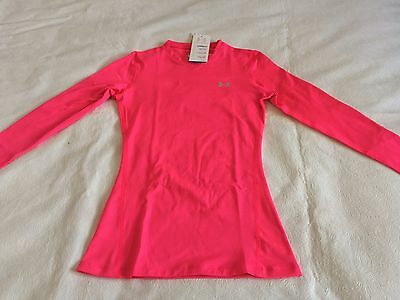 Womens Under Armour ColdGear Base Layer Shirt Pink Fitted NWT Small $49.99
