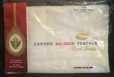 Cannon Percale Double Flat Top Sheet New In Package! Nos Vintage White 54X76