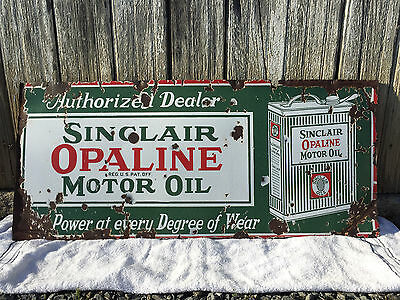 Original Sinclair Opaline Motor Oil Can Single-sided Porcelain Sign
