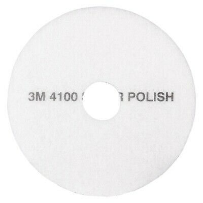 "Brand New 3M White Super Polish Pad 4100, 20"" Floor Pad, Machine Use (Case of 5)"