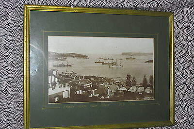 Vintage Genuine Photographic PRINT Sydney Heads from Manly NSW 1910 in Frame