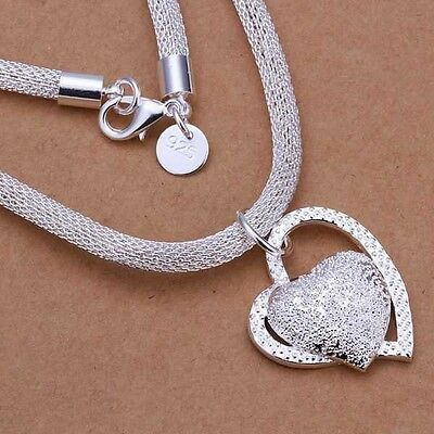 Fashion 925 Sterling Silver Double Heart Pendant Necklace Chain Women Jewellery