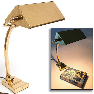 Vintage Solid Brass BANKER'S DESK LAMP, Reading, Office, Classic, High Quality