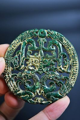 Superior quality Chinese old jade carved dragon&phoenix lucky pendant  G5