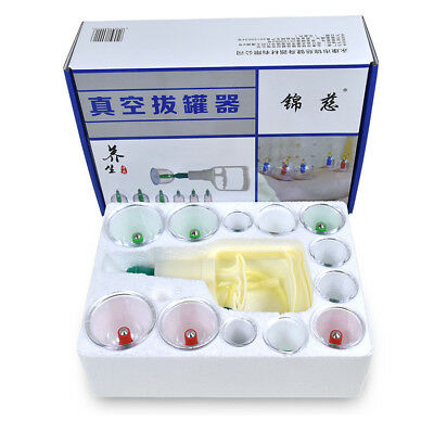 24 Cups Chinese Vacuum Cupping Acupuncture Therapy Set Magnet Massage Suction