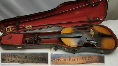 "Antique Repro? 3/4 size 24"" Vincent Panormo 1776 Violin Paris Weidlich Bow Case"