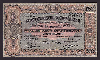 SWITZERLAND  -  20 francs,1927  -  P 20e  -  XF - aXF