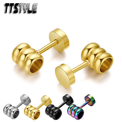 TTstyle Stainless Steel Fake Ear Plug Earrings Pair 4 Colours