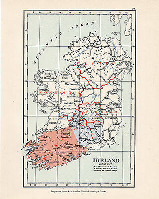 Map Of Ireland  Circa 1570 Original Printed 1910