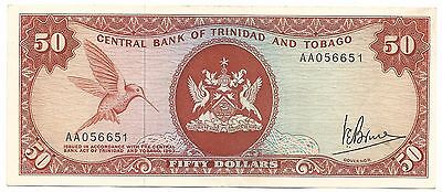 Trinidad & Tobago Banknote 50 Dollars $ 1963 P34a XF Error 1964 Issue Bird Rare