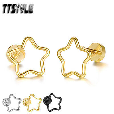 TTstyle Stainless Steel Hollow Star Fake Ear Plug Earring Pair 3 Colours