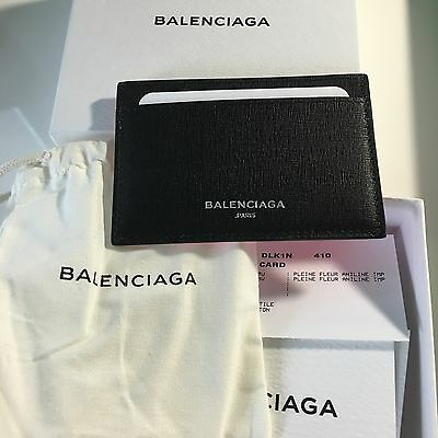 New Balenciaga Black Neon Pink Leather Card Holder Case Wallet Unique Beautiful!